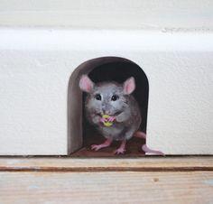 2 x miniature mice/ mouse hole decals  unique by LolaMurals, £2.50