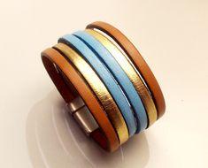 manchette cuir camel or et bleu ciel avec fermoir aimanté argent large 30mm : Bracelet par eddco