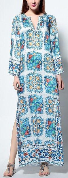 Beaded Print Long Maxi Kaftan Dress-Multi Color