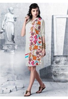White Color Embroidered Shift Dress