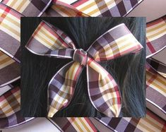 Etsy :: Your place to buy and sell all things handmade Hair Ribbons, Ribbon Hair, Natural Shapes, Bad Hair Day, Warm Colors, Hair Ties, Women Jewelry, Hair Accessories, Plaid