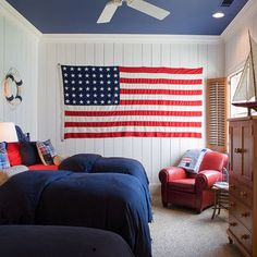 nautical bedroom for Cam -- Navy Ceiling