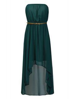 Green with Gold Belt Strapless Asymmetrical Maxi Dress