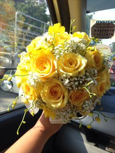 Yellow roses, baby's breath & dancing lady orchid bridal bouquet For orders & enquiries please email to p01989@yahoo.com.sg or visit our FB myreika13