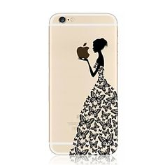 Butterfly Girl Eating Apple Pattern TPU Soft Case for iPhone 7 7 Plus 6s 6 Plus SE 5s 5 – USD $ 3.99