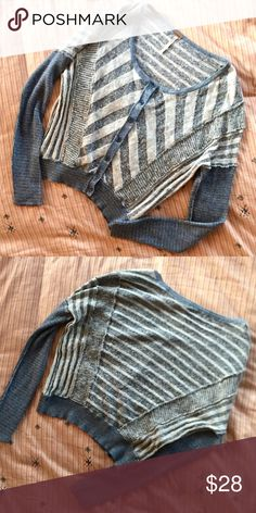 "FP Mixed Blue Stripe Cardigan Sweater Has a wide sort of ""batwing"" fit. Pieced together of different blue striped knit fabric. A somewhat cropped style. Never worn, no holes or pulls and all buttons in tact! Free People Sweaters Cardigans"