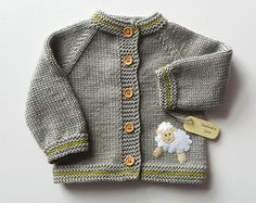 Knit kids jacket with white sheep grey baby merino sweater  MADE TO ORDER