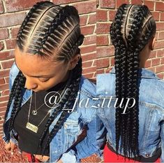 Loving these chunky cornrows. Loving these chunky cornrows. 4 Feed In Braids, Under Braids, Box Braids, Black Girl Braids, Girls Braids, My Hairstyle, Afro Hairstyles, Black Hairstyles, Summer Hairstyles