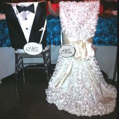 Chair Covers for Bride & Groom at Wedding Reception (picture only).Amy, I have access to these, if you'd like to use them for the sit down dinner. Wedding Linens, Wedding Chairs, Wedding Table, Wedding Receptions, Wedding Chair Decorations, Decoration Table, Wedding Designs, Wedding Styles, Party Chairs