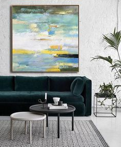Hand painted contemporary painting on canvas, yellow, teal and yellow. CZ Art Design. @CeilneZiangArt