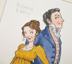 "Jane Austen, 'Pride and Prejudice' ORIGINAL illustration: ""Elizabeth and Darcy"". $90.00, via Etsy."