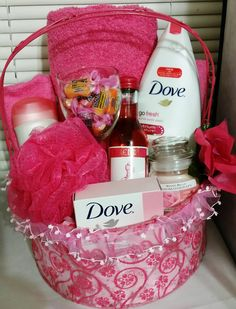 Dove Bath Basket - Pomegranate and Lemon Verbena