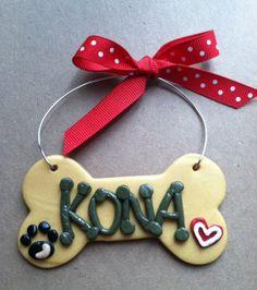 Polymer Clay Personalized Dog Bone Ornament by SeasonsintheHeart2, $6.00