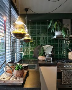 Grey Kitchen Decor A Dutch House That is Filled With Plants Art and The Colour Green - Dear Designer. Grey Kitchen Decor A Dutch House That is Filled With Plants Art and The Colour Green - Dear Designer Kitchen Tiles, Kitchen Dining, Kitchen Decor, Kitchen Hacks, Diy Kitchen, Kitchen Cabinets, Interior Styling, Interior Decorating, Interior Design