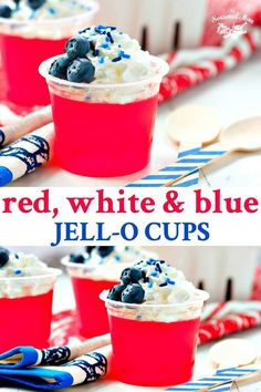 You only need 3 ingredients and less than 1 minute to prepare these easy no-bake Red, White and Blue Jell-O Cups! They are the perfect kid-friendly patriotic snack or dessert for Fourth of July parties and other festive occasions! Blue Desserts, Cheesecake Desserts, Jello Recipes, Dessert Recipes, Dessert Ideas, Easy Recipes, Healthy Recipes, Jell O, Fruit Party