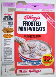 https://flic.kr/p/9VnD5P | 1979 Kellogg's Frosted Mini-Wheats Cereal Box Flair Fi Fo Fum Pens
