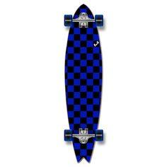 Fishtail Longboard Complete - Checker Blue