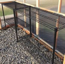 greenhouse floor should be rock pebbles. The rock will absorb the days heat, and release the heat as it cools. In effect, helping to heat the greenhouse. Greenhouse Supplies, Home Greenhouse, Greenhouse Growing, Small Greenhouse, Greenhouse Gardening, Greenhouse Ideas, Winter Greenhouse, Greenhouse Film, Greenhouse Benches