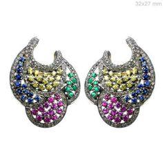 Multi Gemstone 14K Gold Diamond Pave Stud Earrings 925 Sterling Silver Jewelry #raj_jewels #Stud
