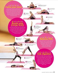 Chart of yoga moves and which ones to do for PMS relief, to boost energy, to help aid in digestion, and to help calm your mind. This is brilliant. {Exercise and Fitness Routine} {Workout} {Healthy Living} {Relaxation Techniques}