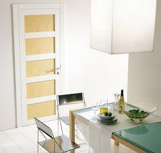Modern White Interior Door modern interior swing door featuring a wood slab panel with