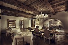 Found in Madulain, Switzerland, the Hotel Chesa Colani dates back to the Although originally. Alpine Restaurant, Cafe Restaurant, Pastel Living Room, Colani, Contemporary Interior Design, Beautiful Space, Rustic Style, House, Home Decor
