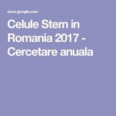 Celule Stem in Romania 2017 - Cercetare anuala