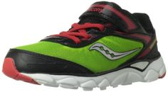 Saucony Boys Varana A/C Running Shoe (Little Kid),Citron/Black/Red,11 M US Little Kid. Anti-microbial lining^Injected molded ethylene vinyl acetate for superior cushion and flexibilty^Non-marking outsole.