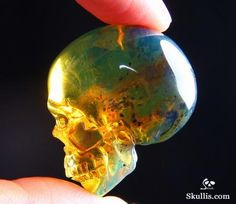Dominican Blue Amber Gem Quality Crystal Skull Sculpture