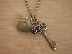 Key to my heart locket necklace - Vintage - Heart locket