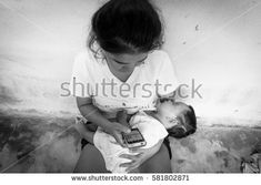 Teenage problem concept,Social problem,Teen women stress ,Teen have baby, black and white tone Photo Editing, Royalty Free Stock Photos, Stress, Teen, Concept, Black And White, Words, Baby, Pictures