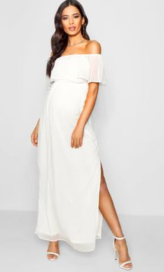 I love this white maternity dress! Maternity Jess Off Shoulder Dobby Spot Maxi Dress. Click this pin to find it on boohoo.com! maternity dress | maternity clothes | maternity outfit | maternity style | maternity wardrobe | pregnancy | bump | #affiliate #maternitydress