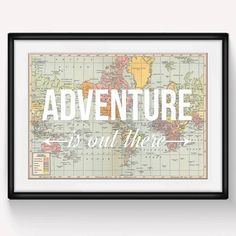 The 'Adventure is Out There' world map print is the ultimate wanderlust poster, a perfect reminder to get out and explore!This beautiful world map print is formed from the combination of a stunning vintage world map and the uplifting phrase 'Adventure is Out There'. This charming map poster would make the perfect gift for anyone about to embark on a travel adventure. Alternatively, it would look great in a nursery setting, after all children have the whole world at their feet. Its fun, ...