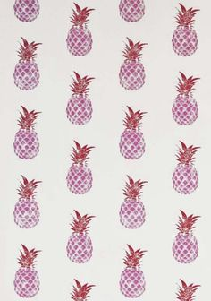 Pineapple Wallpaper The pineapple is often considered a symbol of hospitality in the home. This fun contemporary wallpaper features a hand block print effect pineapple design in fresh red and pink on an off-white ground.