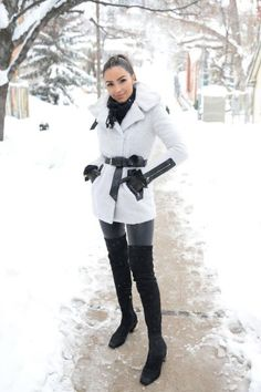 Olivia Culpo wearing Mackage Kinsley Merino Wool Coat with Belted Waist, Strathberry Midi Leather Tote, Kate Spade New York Bow Logo Gloves, J Brand Edita Leather Pants and Nicholas Kirkwood Pollypetal Riley Over the Knee Boots Olivia Culpo, Chic Winter Outfits, Casual Outfits, Fashion Outfits, Womens Fashion, Paris Outfits, Casual Clothes, Fashion Models, Fashion Trends