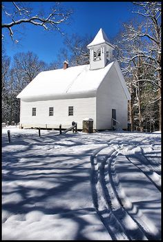 """Cade's Cove Primative Baptist"" by BamaWester on Flickr - This is one of the great old churches in Cade's Cove.  This photograph was taken on December 28, 2010 by Wes Thomas."