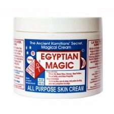 Egyptian Magic is an all-natural skin cream made from six of nature's most powerful moisturizing and healing ingredients. Super moisturizing, this balm is luxurious and truly all purpose. It can (and should) be used for hydrating everything from the most delicate babies' skin to mom and dad's rosy cheeks, chapped lips and hands, split ends, and everything in between.     Ingredients: Olive oil, beeswax, honey, bee pollen, royal jelly, propolis extract.