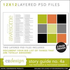 Story Guide No. 04A Layered Template - Digital Scrapbooking Templates - Cathy Zielske
