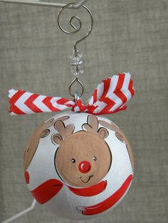 Paper Mache Ornament with 3 Reindeer