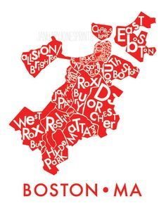 Super Cute! Just tried to order one :) BOSTON neighborhood map art print poster by JanuaryJonesPrints.