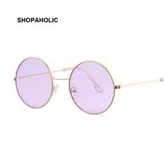 b524087df3 Vintage lunettes de Soleil Rondes Femmes Océan Couleur Lentille Miroir  Lunettes De Soleil des Femmes Marque Design En Métal Cadre Cercle Lunettes  Oculos ...