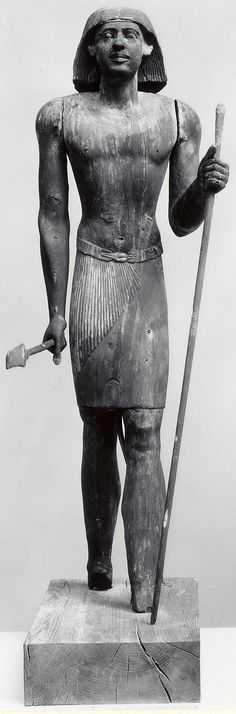 Standing Statue of Merti with flaring wig Old Kingdom, ca. 2381–2323 B.C. From Egypt, Memphite Region, Saqqara, Tomb of Merti, Dimensions: 58 1/4 in. (148 cm)
