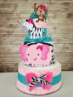 Deluxe Safari Girl Diaper Cake on Etsy, $50.00