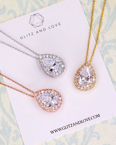 CZ Teardrop Necklace, Silver, rose gold, gold, cubic zirconia, bridal necklace, bridesmaid bridal shower gifts, wedding jewelry, www.glitzandlove.com