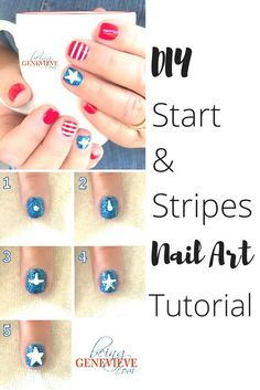 DIY nail art by Being Genevieve stars and stripes nail art design (scheduled via http://www.tailwindapp.com?utm_source=pinterest&utm_medium=twpin&utm_content=post87368997&utm_campaign=scheduler_attribution)