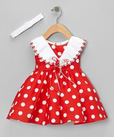 An ever-enchanting duo, this playful polka dotted set will drape darlings in top-to-bottom charm. Graced with a glossy collar, ribbon accent and matching headband, it& the perfect pick for photo-ops and fab family functions. Frocks For Girls, Little Dresses, Little Girl Dresses, Girls Dresses, Fashion Kids, Girl Fashion, Baby Girl Dress Patterns, Baby Frocks Designs, Frock Design