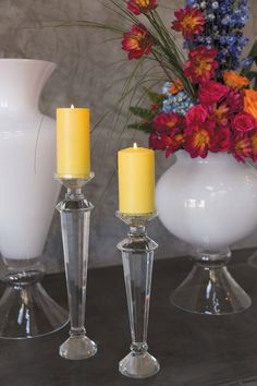 Crystal Candlestick x Crystal Collection, Garden Table, Candlesticks, Candle Holders, Crystals, Glass, Products, Drinkware, Corning Glass
