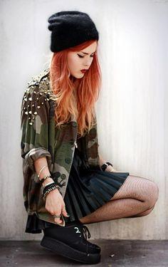 Get this look (skirt, shirt, shoes, hat) http://kalei.do/WYtjJJ0pAQ8WmGX0