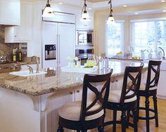 white cabinets with granite countertops | Prada Gold Granite, pendant, lighting, stools, granite, white cabinets ...