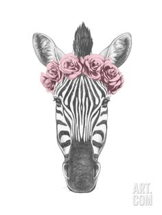 Portrait of Zebra with Floral Head Wreath. Hand Drawn Illustration. Art Print by victoria_novak at Art.com